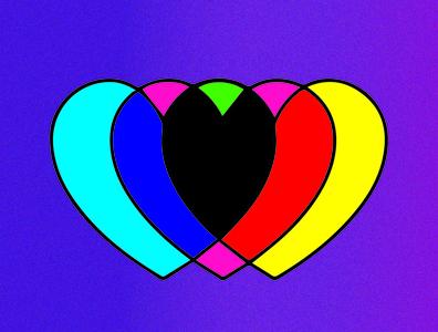 L O V E cmyk heart cmyk color cmyk love heart graphic design design illustration