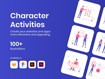 100+ Character Activities Illustrations daily activities characters vectors illustrations