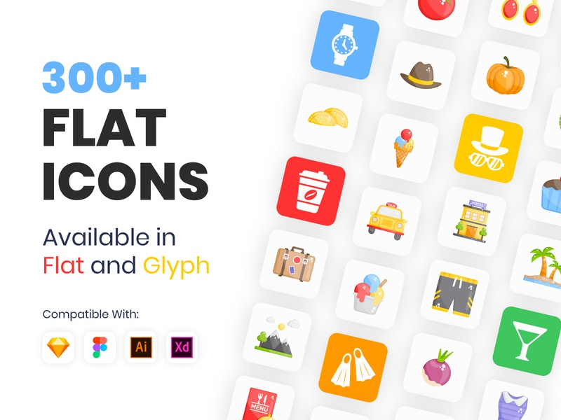300+ Flat Icons vectors vegetables travelling vacations marine sea life underwater fruits junk food fast food cosmetics clothing fashion solid glyph flat vector vector flat icons