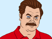 Ron Swanson in a Red Golf Shirt