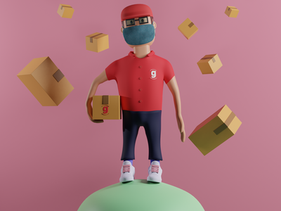 Delivery Man web illustration web characters character cute design 3d art 3d modelling illustration 3d model 3d illustration 3d