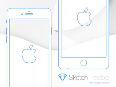 iPhone 6 & 6 Plus Wireframe .sketch Freebie