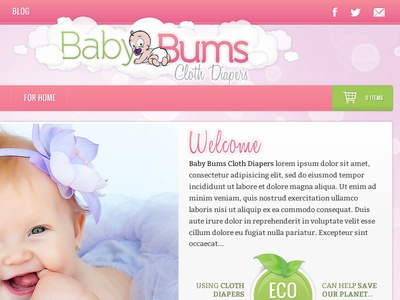 Baby Bums Site/Logo Concept baby bums cloth diapers site concept