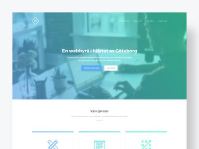 Agency website responsive portfolio ui minimal white green cyan blue layout website agency