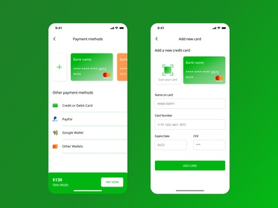 Add a new card add mobile app app buy wallets green orange payment method payments payment debit card credit card cards card