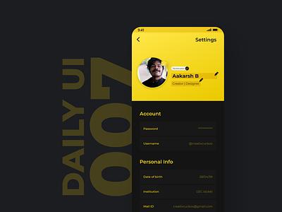 Settings Page design ux typography app flat ui dailyui