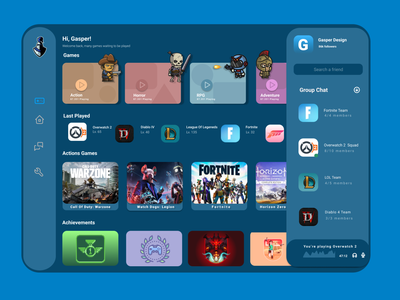 Game Dashboard software design app dashboad art gaming game art characters game design game website minimal ux ui logo illustration design