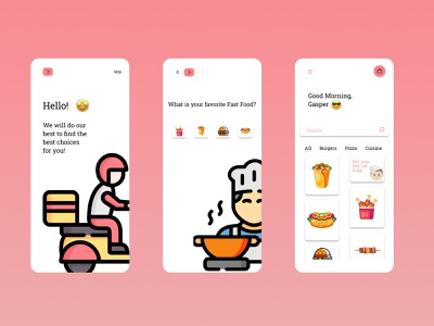 Food App food illustration pink ux app food