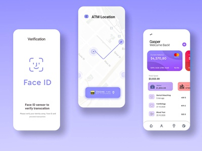 Banking and Finance Mobile App prototype ui ux purple mobile bank app
