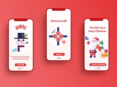 Christmas App snow spirit joy happy snowman red colorful design illustration app ui gifts santa chirstmas