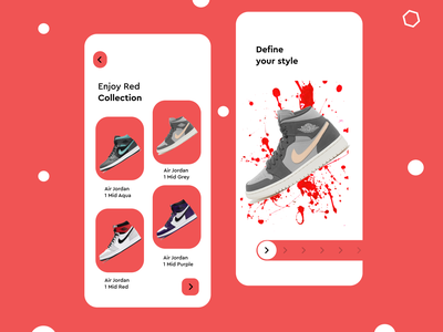 Online shopping clothing shop app red colorful branding uxdesign uxui ux nike shoes nike
