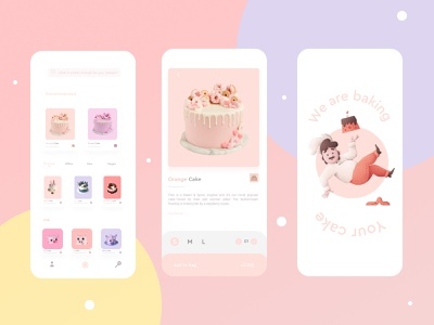 Cake App happy birthday delivery restaurant cakes foodie pink mobile uxdesign colorful illustration app ux sweet food cake minimal design