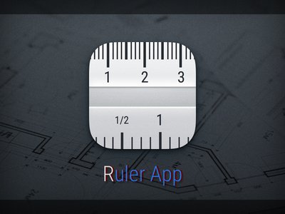Icon for Ruler App scale inch centimeter measure metal grey size ruler ios icon