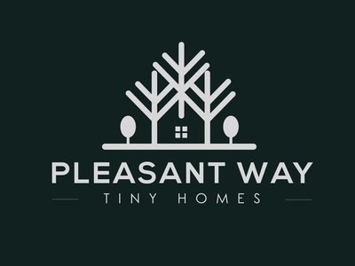 Pleasant way Logo Design icon typography ux illustration business tiny pine wild minimalist minimal realestate home logo