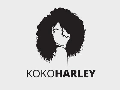 KOKOHARLEY Logo Design design typography branding tiny minimalist black curly curl hair minimal logo business