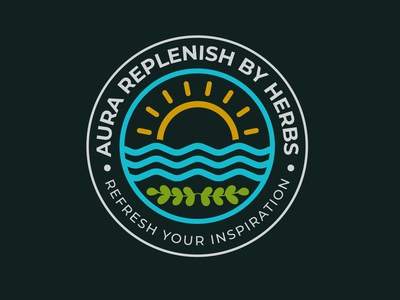 Aura Replenish by Herbs Logo black illustration design logo badge design branding typography minimalist minimal business