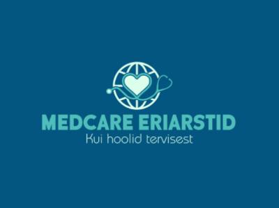 Medcare Eriastid Logo Design badge black badge design branding design typography minimalist minimal logo business
