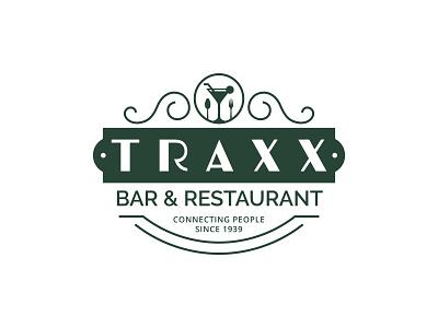 Traxx Bar & Restaurant Logo Design illustration restaurant bar retro branding badge design badge business minimalist typography