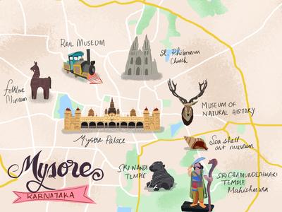 Map illustration - Mysore Karnataka