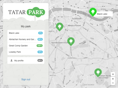 Tatarpark map list points bootstrap