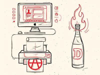 anarchy and graphic design illustration imac printer anarchy molotov apple icon