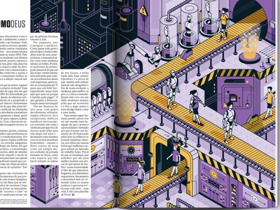 Superinteressante Magazine scifi robots futuristic isometric