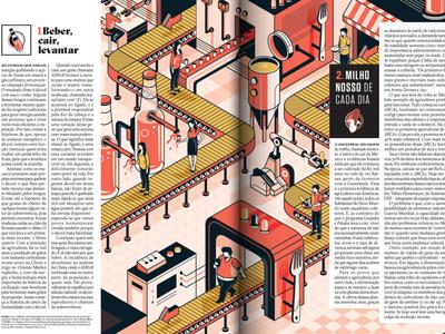 Superinteressante Magazine machine beer isometric