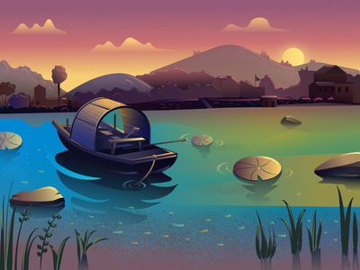 Illustrations   Lake Boat To Practice 设计 图标 餐饮 应用 插图