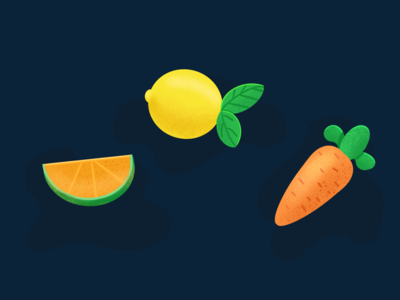 Fruit, lemons, oranges and carrots