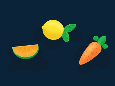 Fruit, lemons, oranges and carrots 设计 图标