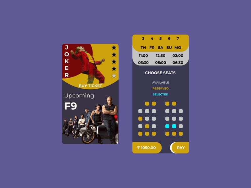 Movie Ticket Booking UI Design cinema movie app mobile flat clean branding app figma dribbble design ux ui dailyui