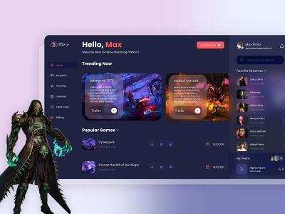 Exciting Games for Utmost Relaxation | Gaming Dashboard web dashboard web template web design game design dashboard design