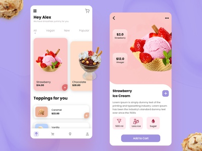 Ice Cream UI for a Joyous Meal Experience mobile ui hire designer landing page mobile app templete ice cream ui ui mobile app design ui design