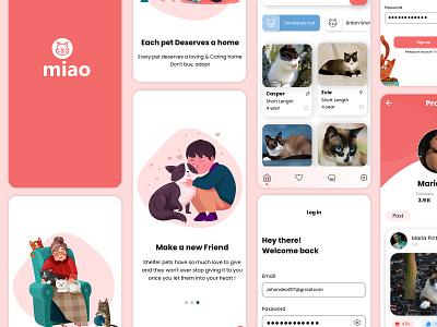 Miao - Mobile App Design - Each Cat Deserves a Home web template design website design web template web design cats cat moblie app cat illustration hire designer ui mobile app design ui design