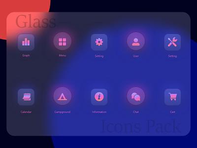 Glass Icons Design to Strengthen the Text ux vector branding logo design design art icons elements element design mobile app design web template ui design