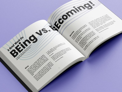 BEing vs BEcoming typography layoutdesign layout design booklet typesetting layout bookdesign book