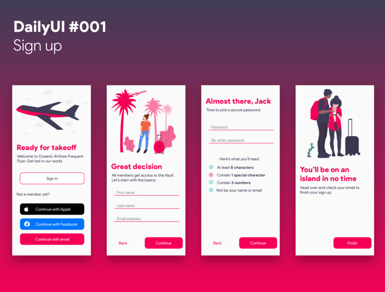 Daily UI #001 - Sign up sign up dailyui app ui