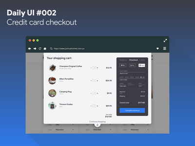 Daily UI #002 - Credit card checkout shopping cart checkout ui dailyui