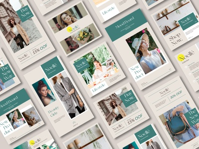 Noelle Social Media Template product make up beauty posts story socialmedia business design clean instagram fashion social media graphic design
