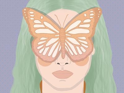 Portrait portrait green purple butterfly draw design pastelcolors illustration drawing digitalartwork digitalartist digitalart
