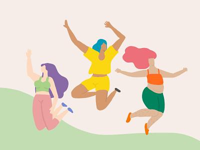 Happy Women womensupportwomen happywomen exercise activity womens day sport women empowerment pastelcolors drawing digitalartwork digitalartist digitalart illustration women in illustration women