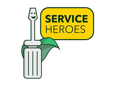 Service Heroes screwdriver heroes hero service logo flat vector