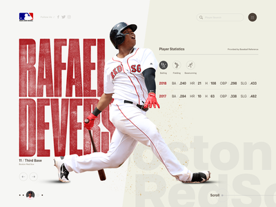 Boston Redsox - Rafael Devers typography ui web design website web design