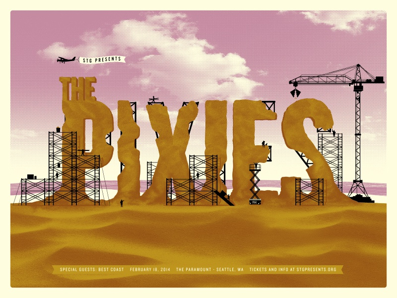 Pixies Poster - Finished Art pixies illustration sand scaffolding construction beach ocean shore plane poster print typography