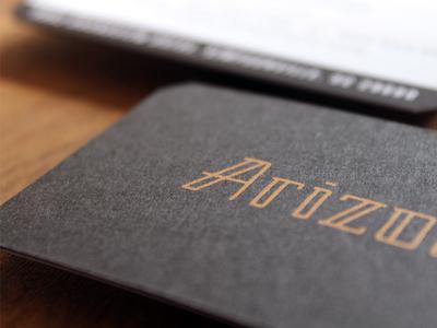 Arizona Biz Cards business card copper collateral typography logotype custom duplex