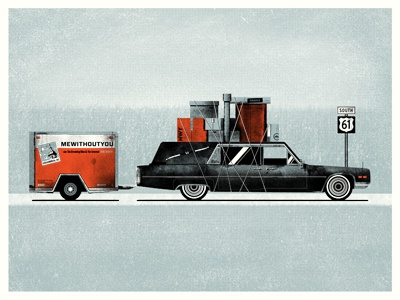Finished poster for MeWithoutYou hearse mewithoutyou the drowning men the internet uhaul luggage baggage illustration poster design street sign 3 color screen print halftone