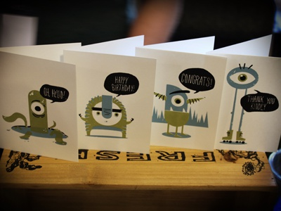 Monster Greetings monsters hello happy birthday congrats thanks cards stationery indie craft parade idp for sale