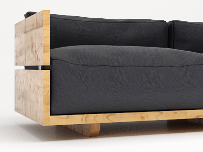 Wooden Outdoor Couch fluffiest vray rendering render modeling furniture archviz max 3ds