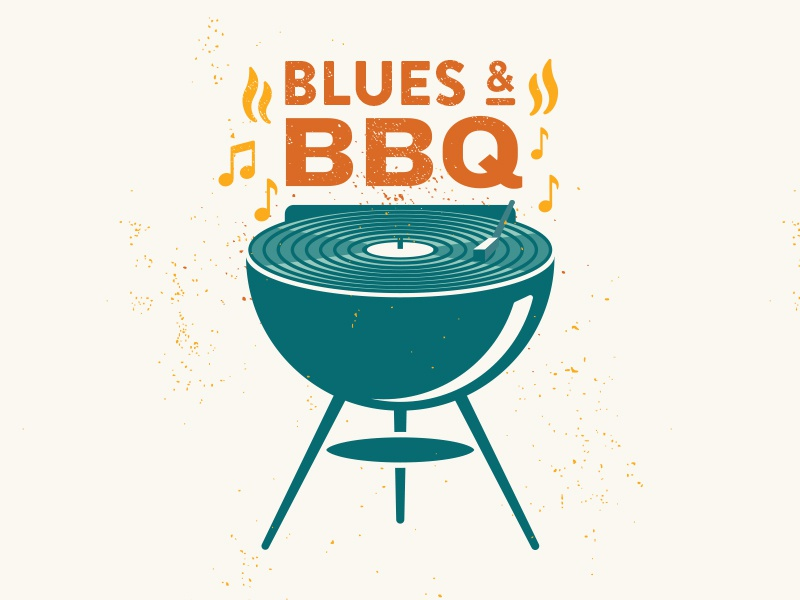 Blues & BBQ Graphic flame blues record-player bbq grill