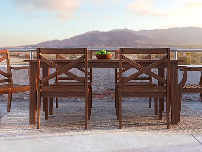 Teak Outdoor Dining Set vray rendering render modeling furniture archviz max 3ds